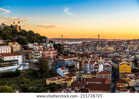 Aerial view of Lisbon at night, Portugal. Sao Jorge Castle - stock photo