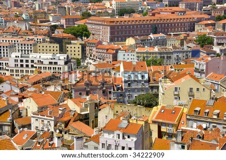 aerial view of Lisbon on a sunny day