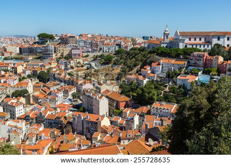 Aerial view of Lisbon, Portugal. Sao Jorge Castle