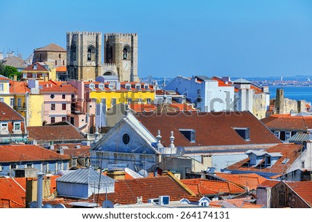 Aerial view of Lisbon, Portugal with Roman Catholic Cathedral - stock photo