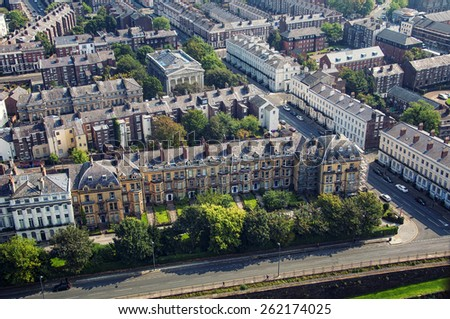 Aerial view of Liverpool, UK residential area - stock photo