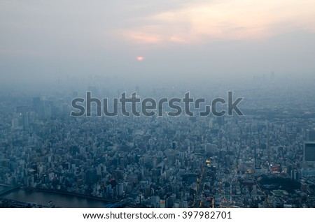 Aerial view of living and business area in Tokyo, Japan - stock photo