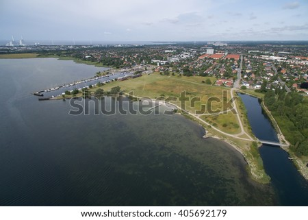 Aerial view of Lodsparken located in Hvidovre, Denmark
