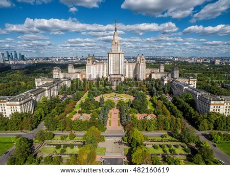 Aerial view of Lomonosov Moscow State University (MGU, MSU) on Sparrow Hills, Moscow, Russia