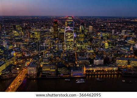 Aerial view of London during sunset - stock photo