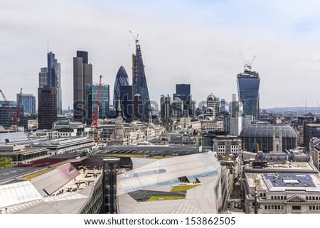 Aerial View of London from a viewing platform of St Paul Cathedral, London, UK - stock photo