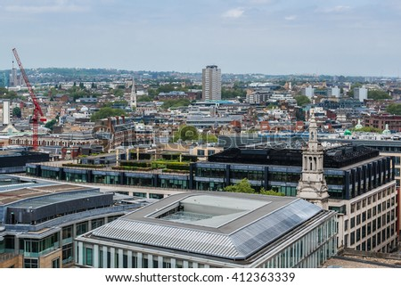 Aerial View of London from viewing platform of St Paul Cathedral, London, UK - stock photo