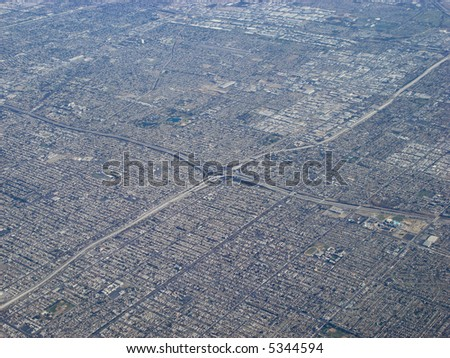 Aerial View of Los Angeles, California - stock photo