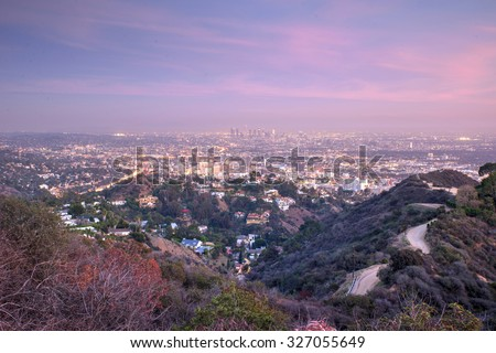Aerial view of Los angeles city from Runyon Canyon park. concept about traveling, nature and backgrounds - stock photo