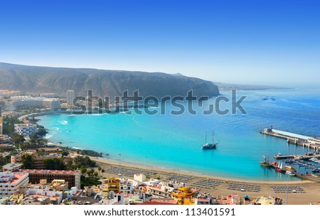 Aerial view of Los Cristianos beach in Arona Tenerife Canary Islands - stock photo