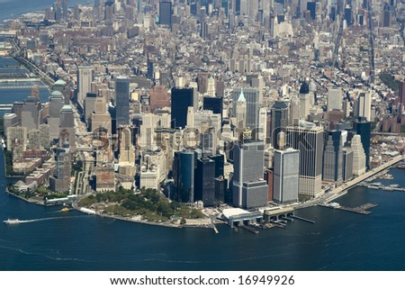 Aerial view of lower Manhattan. - stock photo
