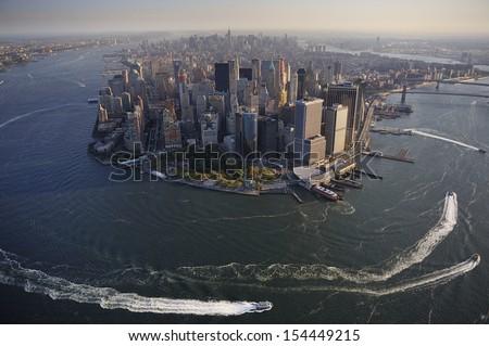 Aerial view of Lower Manhattan, New York - stock photo