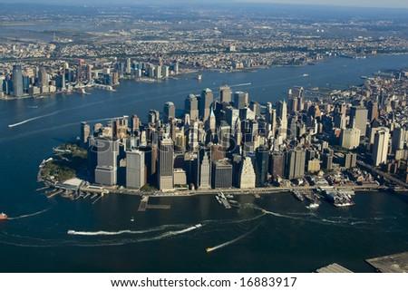 Aerial view of Lower Manhattan New York City - stock photo