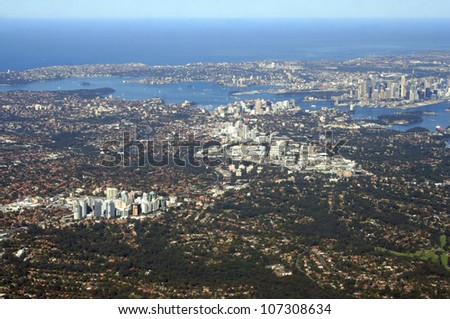 Aerial view of lower north shore and central business district of Sydney, Australia