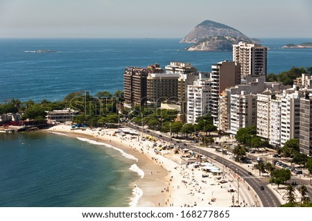 Aerial View of Luxury Residential and Hotel Buildings in Front of the Copacabana Beach, Rio de Janeiro, Brazil
