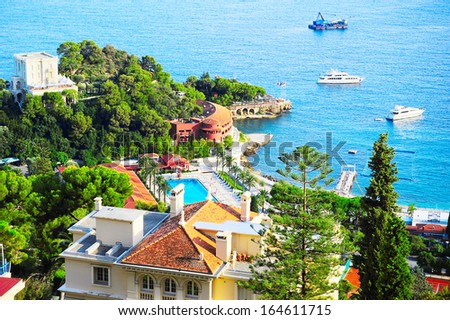 Aerial view of luxury resort and bay, french riviera, France, near Nice and Monaco  - stock photo