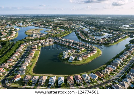 aerial view of luxury suburban home community in south florida - stock photo