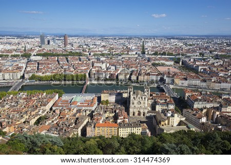 Aerial view of Lyon from the top of Notre Dame de Fourviere, France - stock photo
