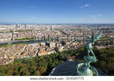 Aerial view of Lyon from the top of Notre Dame de Fourviere, France, Europe - stock photo