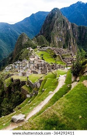 Aerial view of Machu Picchu ruins, Peru - stock photo