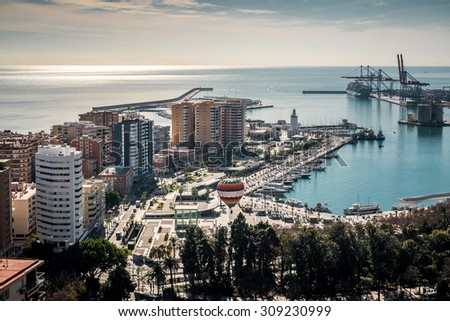 Aerial view of Malaga port. Spain  - stock photo