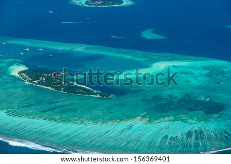 Aerial view of Maldives islands