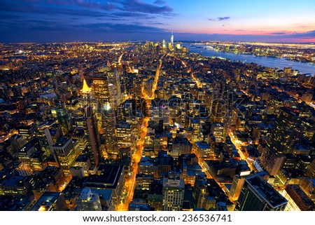 Aerial view of Manhattan at dusk, New York City - stock photo
