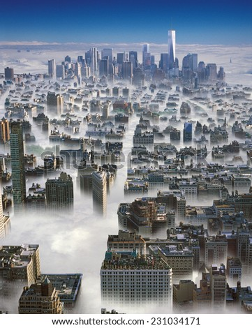 Aerial view of Manhattan in a clouds. - stock photo