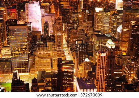 Aerial view of Manhattan New York at night  - stock photo