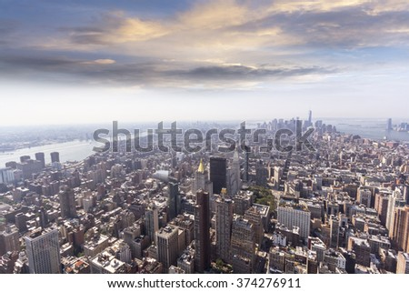 Aerial view of Manhattan's skyline.