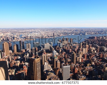Aerial view of Manhattan skyline -New York City, USA