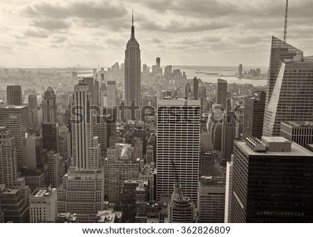 Aerial view of Manhattan, USA - stock photo