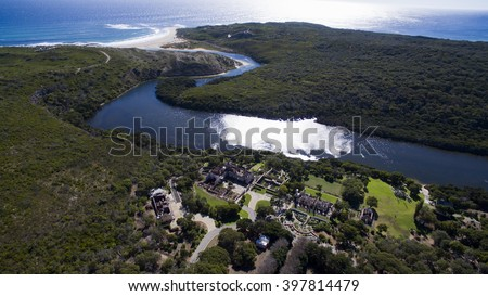Aerial view of Margaret River Mouth with Wallcliffe House ruins in foreground - stock photo