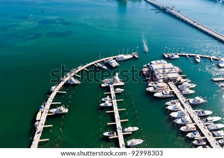 Aerial View  of Marina with boats in Biscayne Bay, Miami. - stock photo