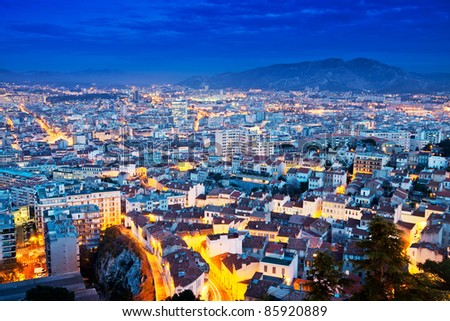 Aerial view of Marseille at dusk - stock photo