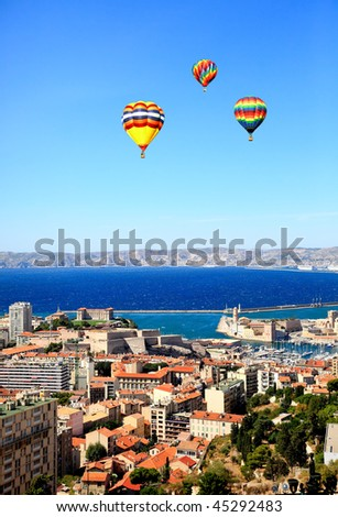Aerial view of Marseille City France - stock photo