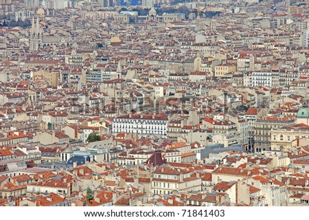 Aerial view of Marseilles, France - stock photo