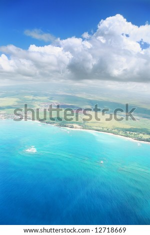 Aerial view of Maui island in Hawaii - stock photo