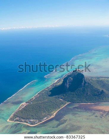 Aerial view of Mauritius with Le Morne Brabant mountain - stock photo