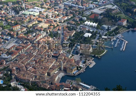 Aerial view of medieval Italian town
