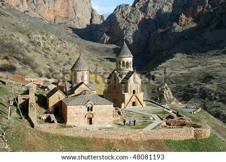 aerial view of medieval old monastery - stock photo