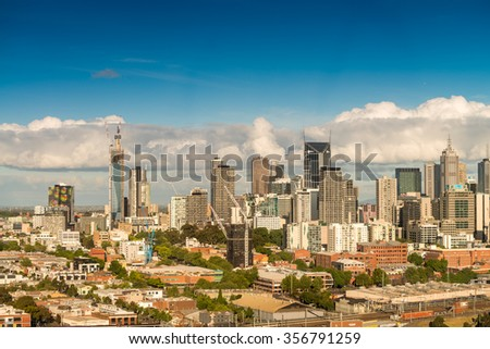 Aerial view of Melbourne, Australia. - stock photo
