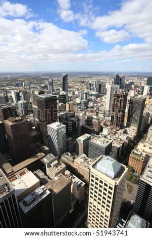 Aerial view of Melbourne, Australia. Multitude of skyscrapers. - stock photo