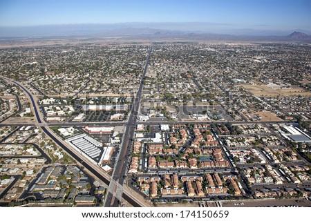 Aerial view of Mesa, Arizona suburbs looking north from University Drive at Gilbert Road - stock photo