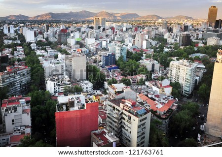 Aerial view of Mexico City, Mexico. - stock photo