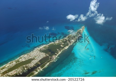 aerial view of Mexico Isla Mujeres - stock photo