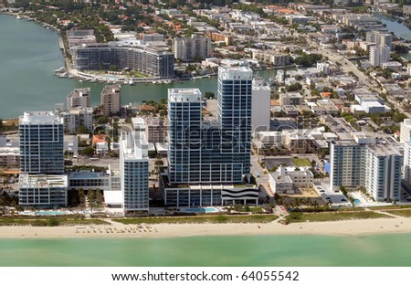 Aerial view of Miami Beach waterfront real estate - stock photo