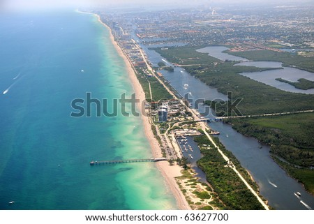 Aerial view of Miami coastal area - stock photo