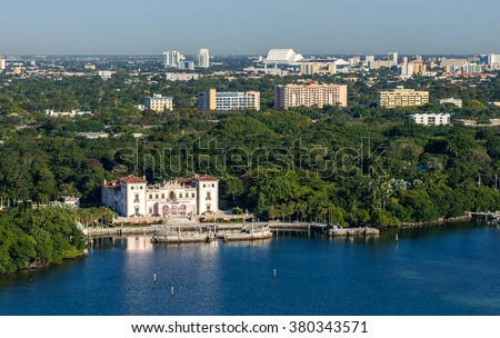 Aerial view of Miami-Dade County-owned Vizcaya Museum along Biscayne Bay