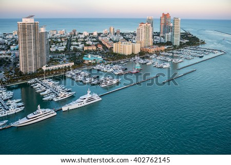 aerial view of miami florida south beach at dusk, spring 2016 - stock photo